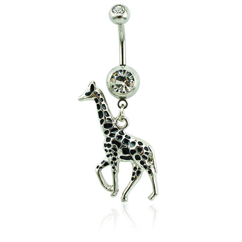 stainless steel barbell giraffe dangle belly button ring