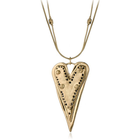 vintage metal heart shaped pendant necklace for women