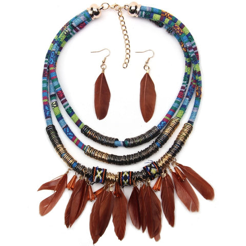 bohemian feather & metal nhain statement jewelry set for women