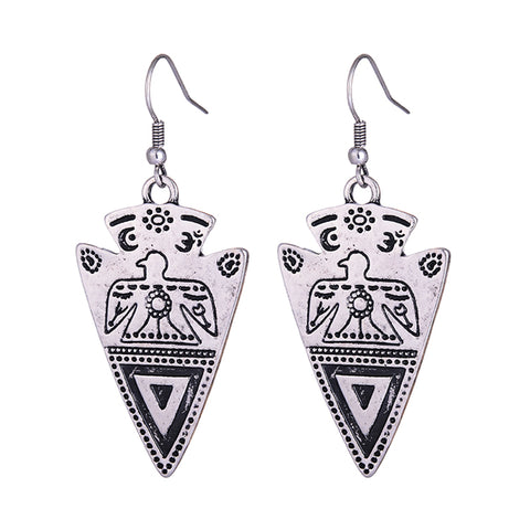 antique gold/silver color carved dangle earrings for women