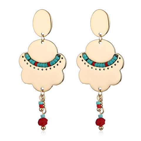 bohemian flower shape with beads drop dangle earrings for women