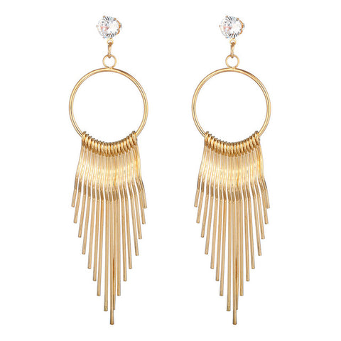 trendy metal tassel with crystal long dangle earrings for women
