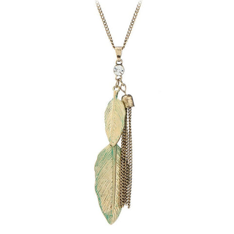 trendy green metal leaves pendant necklace for women