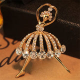 luxury ballet dancer crystal collar pin brooch for women