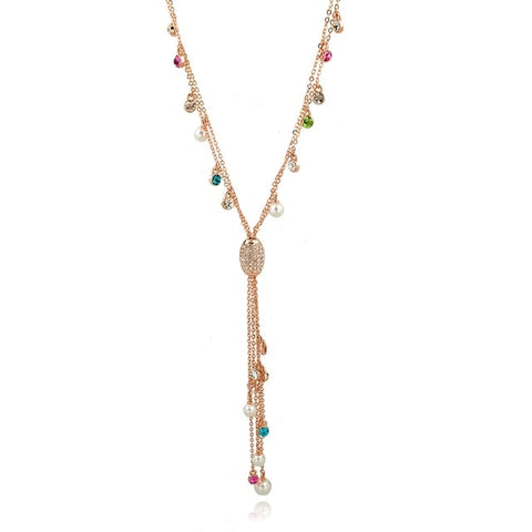 colorful rhinestone crystal tassel pendant necklace for women