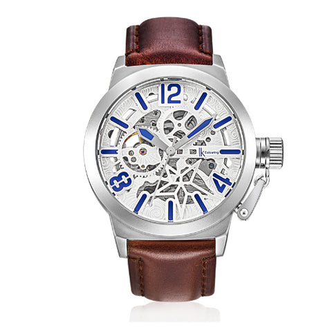 elegant mechanical skeleton dial leather band watch for men