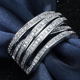 elegant silver plated cz crystal cross ring for women