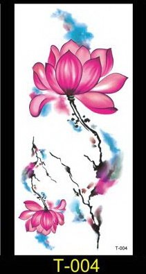 Chinese Lotus Flower Waterproof Temporary Tattoo Sticker Very
