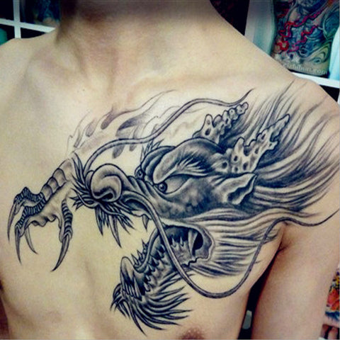 cool 2 pcs full back large dragon head tattoo sticker for men