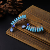 vintage geometric resin stone stud earrings for women
