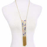 vintage colorful beads tassel pendant necklace for women