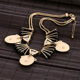 vintage imitation emerald tassel statement necklace for women