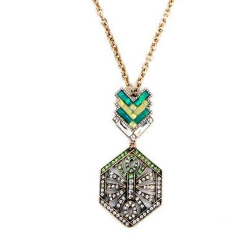 bohemian crystal flower pendant chain necklace for women