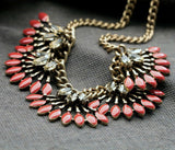 elegant enamel flower tassel statement necklace for women