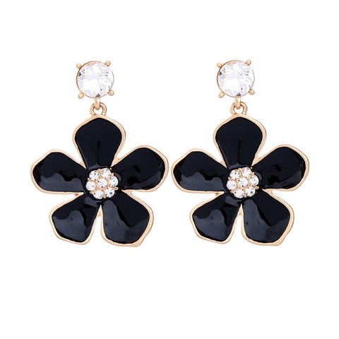 trendy enamel flower with zircon earrings for women