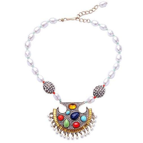 bohemian simulated pearl & colorful gem statement necklace