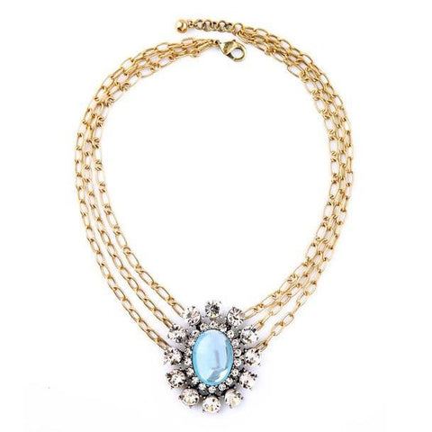 elegant blue oval crystal multilayer statement necklace for women