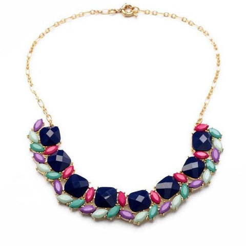 trendy colorful resin stone tassel statement necklace for women