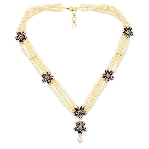 elegant multilayer simulated pearls & flowers statement necklace