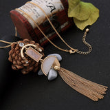 trendy gold color tassel & natural stone pendant necklace