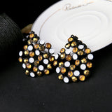 trendy round shape bedded crystal dangle earrings for women