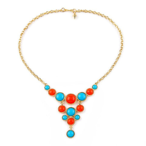 cute candy colors round resin tassel necklace for women