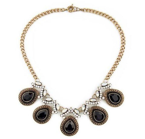 retro crystal water drops tassel statement necklace for women