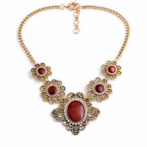 vintage hollow resin flower tassel statement necklace for women