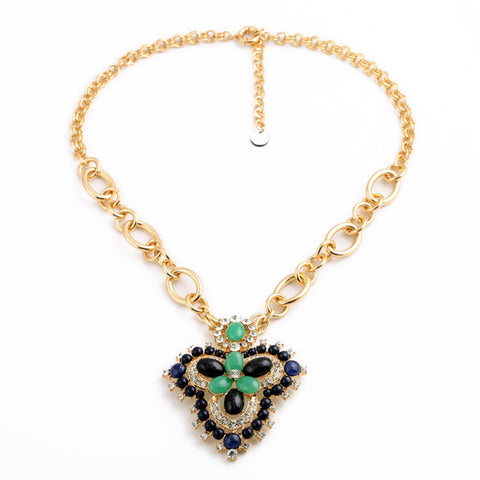vintage crystal & resin stone clover statement necklace for women