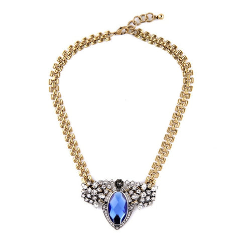 vintage crystal & quartz tassel statement necklace for women