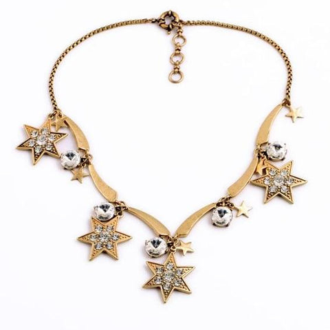 vintage crystal star charms tassel statement necklace for women