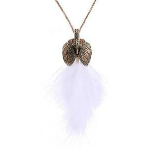 vintage white feather & metal pendant necklace for women