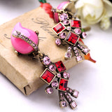 cute colorful stone clip on earrings for women