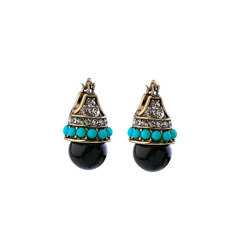 vintage antique gold color blue beads stud earrings for women