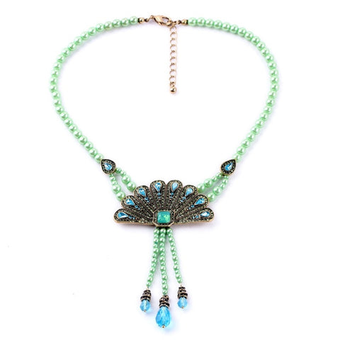 vintage blue beads peacock statement necklace for women