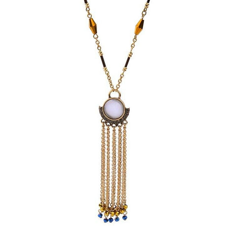 ethnic multicolor beads tassel pendant necklace for women