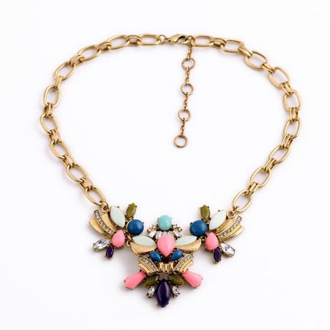 cute colorful resin stone tassel statement necklace for women