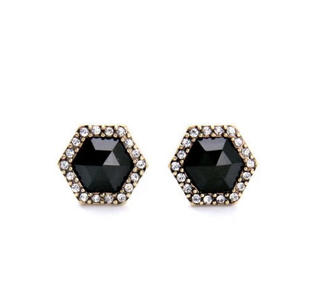 elegant geometric black imitation gems stud earrings for women