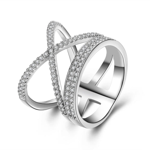 elegant silver plated crystal cross shape ring for women