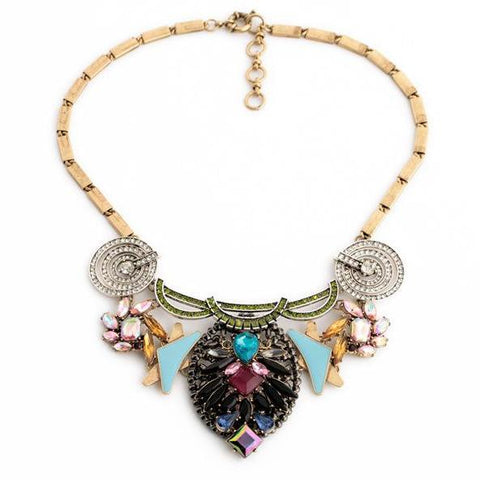 vintage multi color simulated gem tassel statement necklace