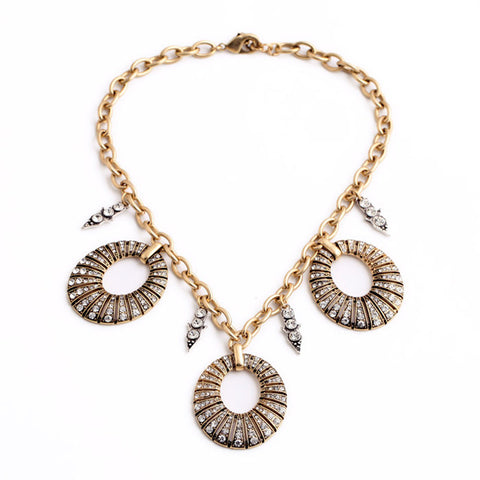 trendy crystal circles tassel statement necklace for women