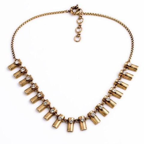 retro antique gold color tassel statement necklace for women