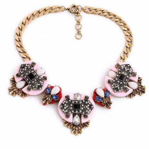 trendy pink resin & crystal tassel statement necklace for women