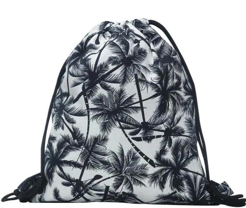 trendy palm trees printing canvas drawstring backpack bag