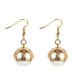 elegant plastic pearl golden stud earrings for women