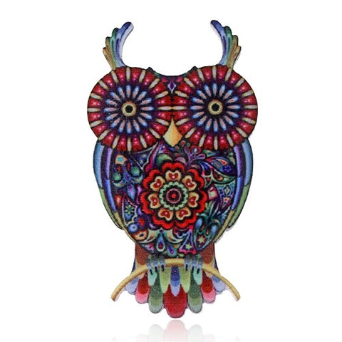 cute colorful acrylic owl shaped brooch pin for women
