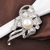 luxury silver color crystal bow brooch pin for women