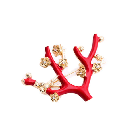 trendy enameled red tree branch rhinestone brooch jewelry
