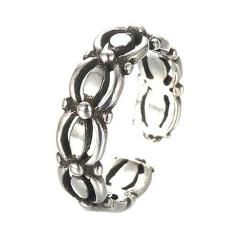 trendy antique silver color chain design open ring
