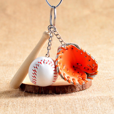 mini three pieces baseball glove & bat key chain for men